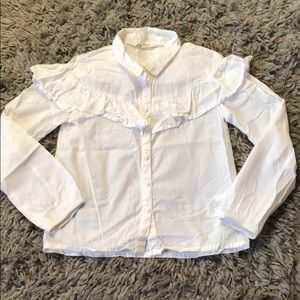 H&M girls white top with ruffle
